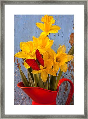 Red Butterfly On Daffodils Framed Print by Garry Gay