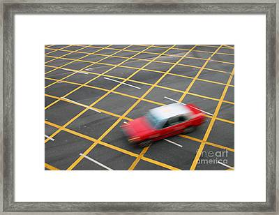 Red Cab In Hong Kong Framed Print by Lars Ruecker