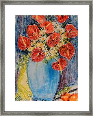 Red Calla Lilies Framed Print by Caroline Street