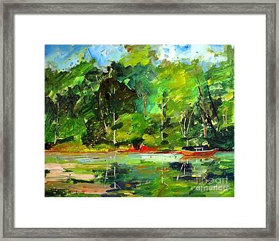 Red Canoe I Framed Print by Charlie Spear