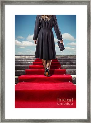 Red Carpet Stairway Framed Print by Carlos Caetano
