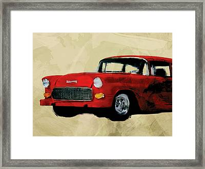 Red Chevy Belaire Framed Print by Flo Karp