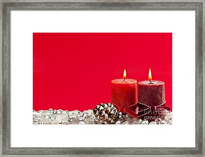 Red Christmas Candles Framed Print by Elena Elisseeva