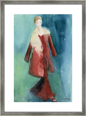 Red Coat And Long Dress - Watercolor Fashion Illustration Framed Print by Beverly Brown