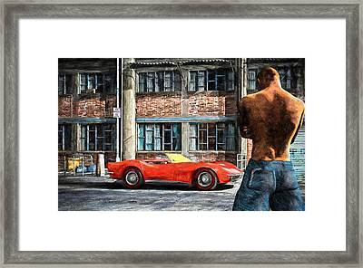 Red Corvette Framed Print by Bob Orsillo