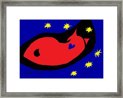 Red Cosmos After Matisse Framed Print by Anita Dale Livaditis