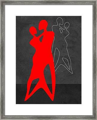 Red Couple Dance Framed Print by Naxart Studio