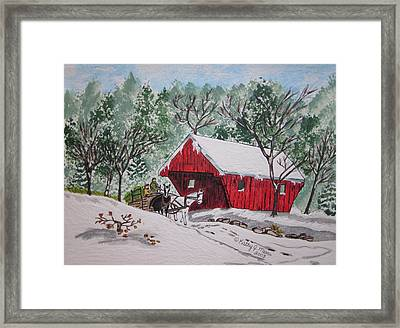 Red Covered Bridge Christmas Framed Print by Kathy Marrs Chandler