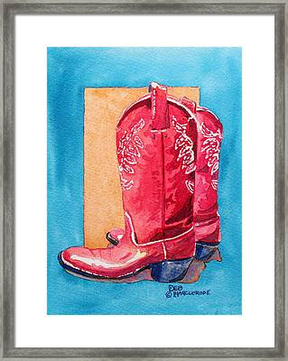 Red Cowgirl Boots Framed Print by Deb  Harclerode