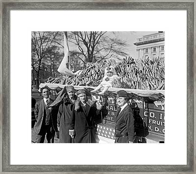 Red Cross Banana Auction Framed Print by Underwood Archives