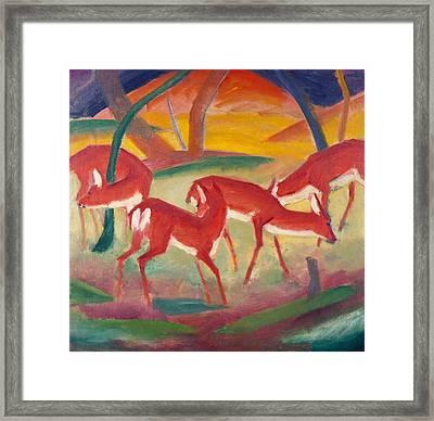 Red Deer 1 Framed Print by Franz Marc