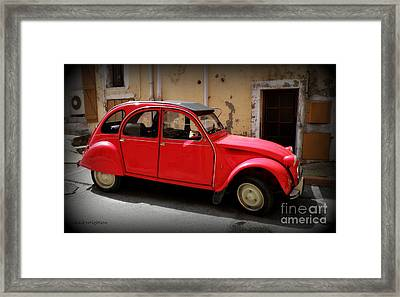 Red Deux Chevaux Framed Print by Lainie Wrightson