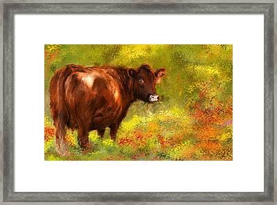 Red Devon Cattle - Red Devon Cattle In A Farm Scene- Cow Art Framed Print by Lourry Legarde