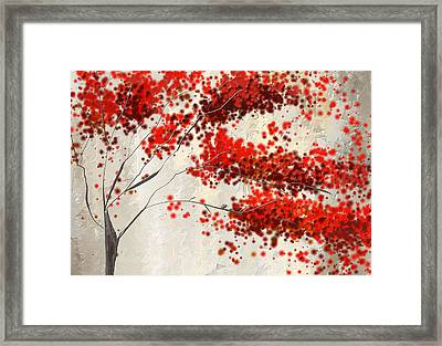 Red Divine- Autumn Impressionist Framed Print by Lourry Legarde
