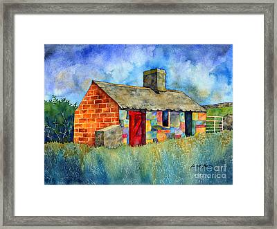 Red Door Cottage Framed Print by Hailey E Herrera