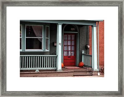 Red Door In Lambertville Framed Print by John Rizzuto