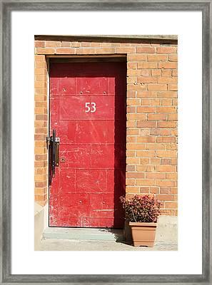 Red Door Framed Print by Linda Lees
