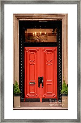 Red Door On New York City Brownstone Framed Print by Amy Cicconi
