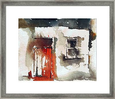 Red Door Framed Print by Val Byrne