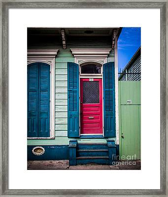 Red Doored House Framed Print by Perry Webster