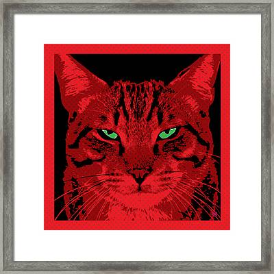 Red Dot Cat Framed Print by Gary Grayson