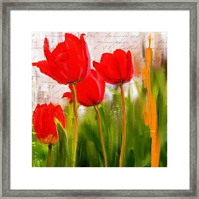 Red Enigma- Red Tulips Paintings Framed Print by Lourry Legarde