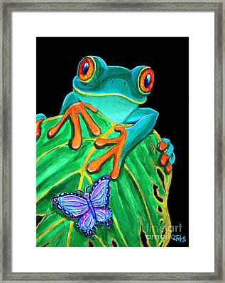 Red-eyed Tree Frog And Butterfly Framed Print by Nick Gustafson