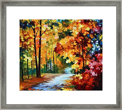 Red Fall Framed Print by Leonid Afremov