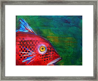 Red Fish Framed Print by Nancy Merkle