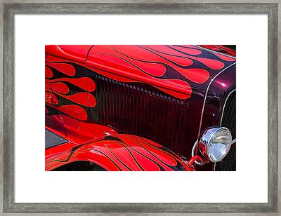 Red Flames Hot Rod Framed Print by Garry Gay