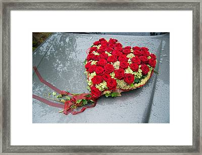 Red Flower Heart With Roses - Beautiful Wedding Flowers Framed Print by Matthias Hauser