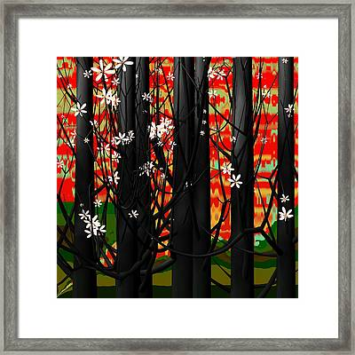 Red Forest Framed Print by GuoJun Pan