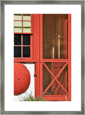 Red Framed Window And Door Framed Print by Kae Cheatham