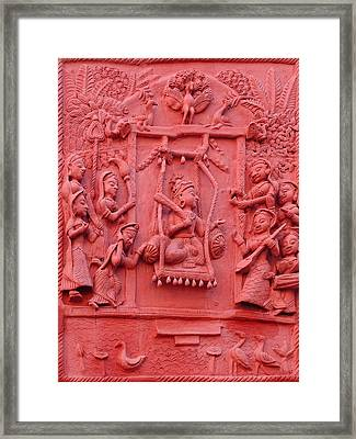 Red Fresco Palace King Women Music 6 Udaipur Rajasthan India Framed Print by Sue Jacobi