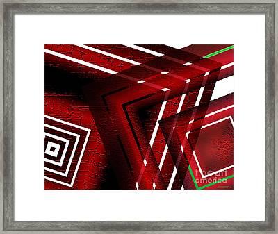 Red Geometric Design Framed Print by Mario Perez