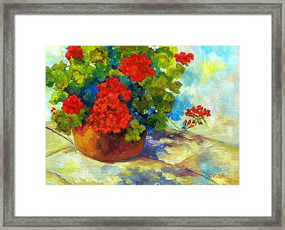 Red Geraniums I Framed Print by Peggy Wilson