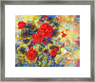 Red Geraniums II Framed Print by Peggy Wilson