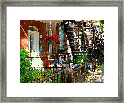 Red Geraniums Verdun Winding Staircases Hanging Flower Basket Montreal Porch Scene Carole Spandau Framed Print by Carole Spandau