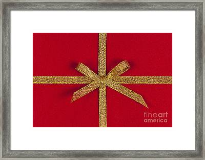 Red Gift With Gold Ribbon Framed Print by Elena Elisseeva