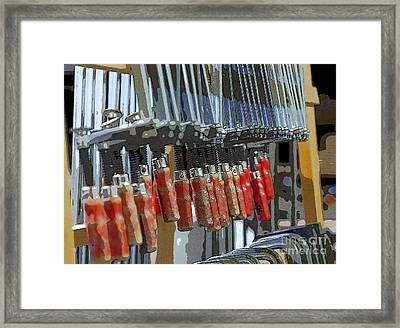 Red Glue Clamps Framed Print by Patricia Hofmeester