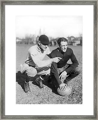 Red Grange And His Coach Framed Print by Underwood Archives