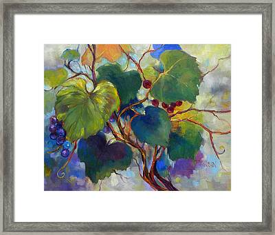 Red Grape Vines Framed Print by Peggy Wilson