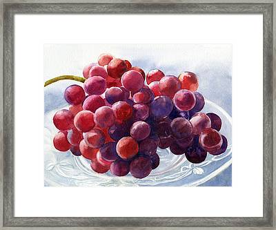 Red Grapes On A Plate Framed Print by Sharon Freeman