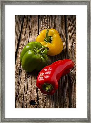 Red Green Yellow Peppers Framed Print by Garry Gay