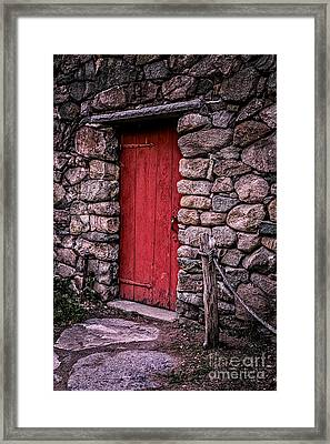 Red Grist Mill Door Framed Print by Edward Fielding