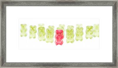 Red Gummi Bear Is Leading The Group Framed Print by Handmade Pictures