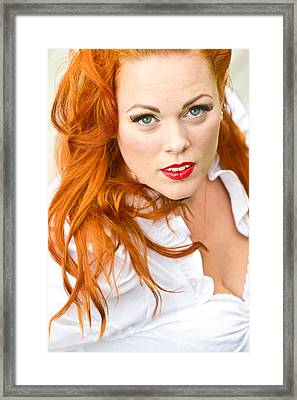 Red Hair Girl In Pin-up Style Portrait Framed Print by Jean Schweitzer
