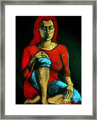 Red Hair Woman Framed Print by Mona Edulesco
