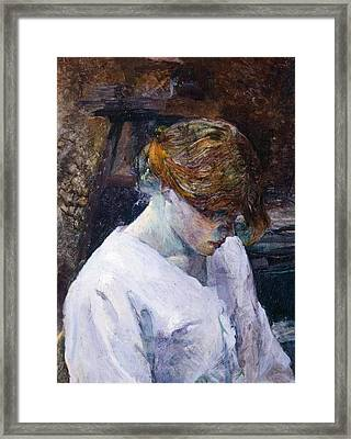 Red-haired Woman In White Camisole Framed Print by Henri de Toulouse Lautrec