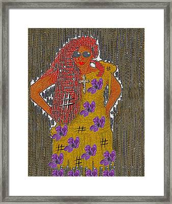 Red Hairy Warrior Framed Print by Pepita Selles